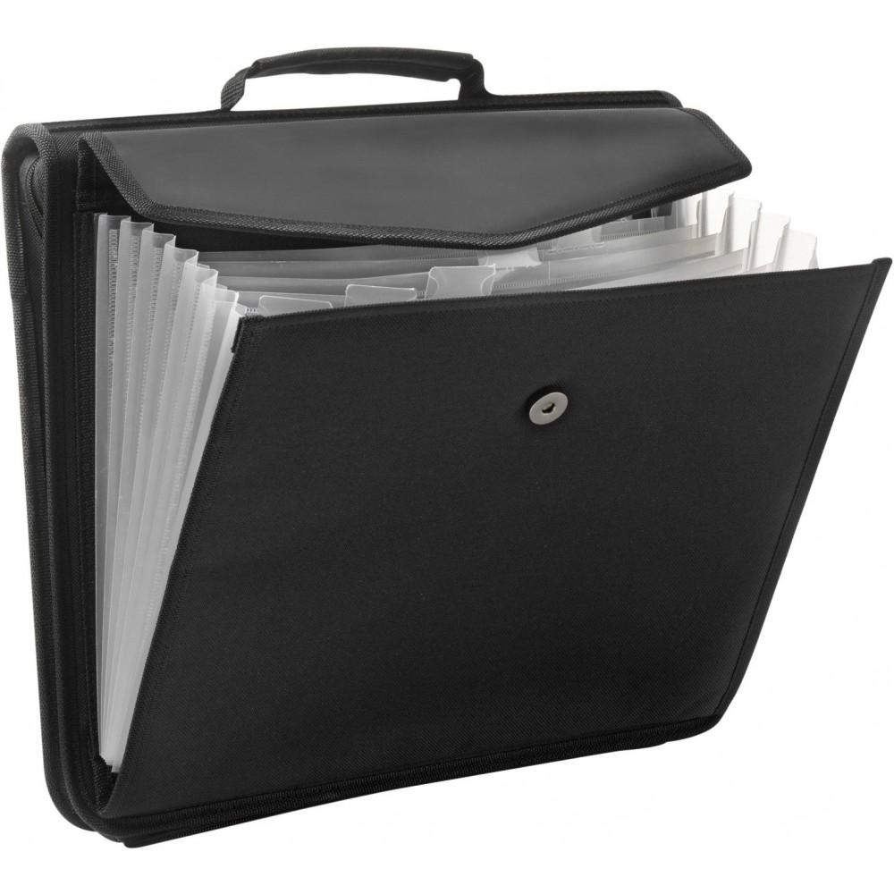 A4 Conference portfolio, Black (Imitation leather ...