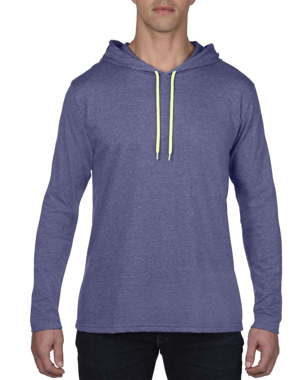 Anvil Adult Long Sleeve Hooded Tee, Heather Blue/Neon Yellow (T-shirt