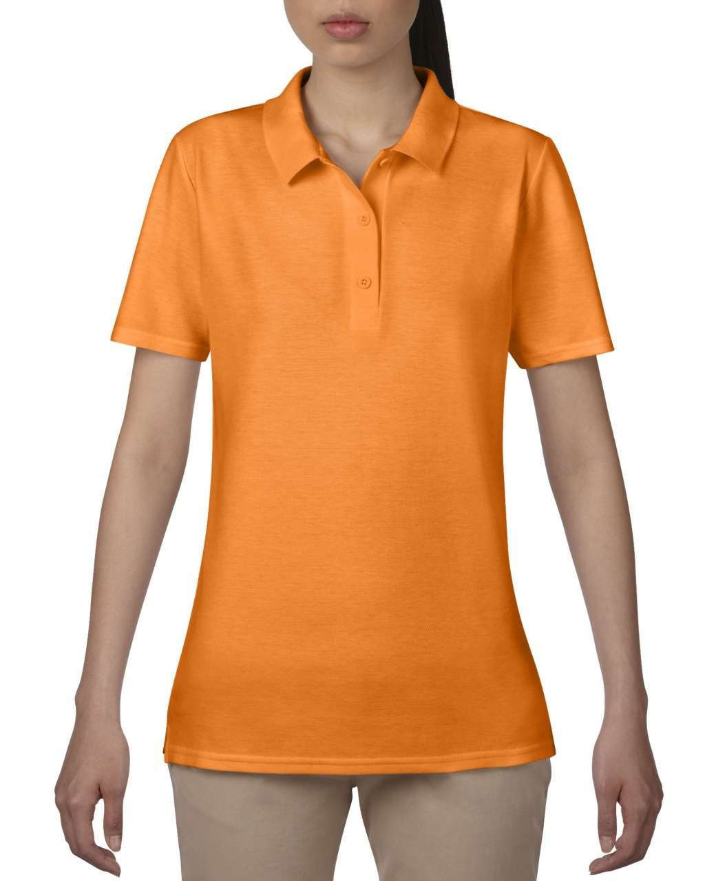Anvil Women Double Pique Polo, Mandarin Orange, M (T-shirt)