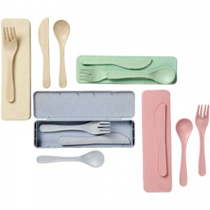 Bamberg bamboo fibre cutlery set, Gray (Metal kitchen equipments)