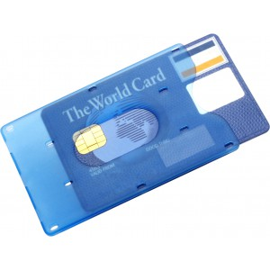 Bank card holder for one card, light blue (8358-18)