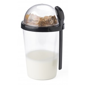 Breakfast mug with separate compartment on the top, black (7296-01)