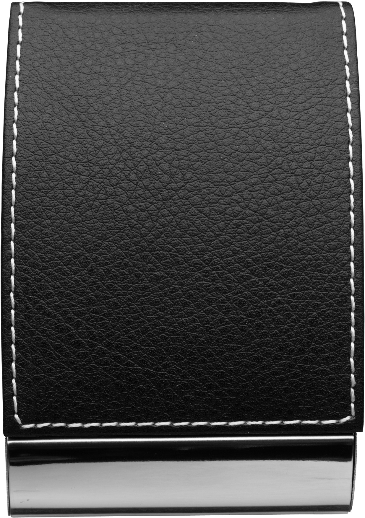 Business card holder, Black/silver (Imitation leather / textile ...