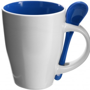 Coffee mug with spoon, blue (2855-05CD)