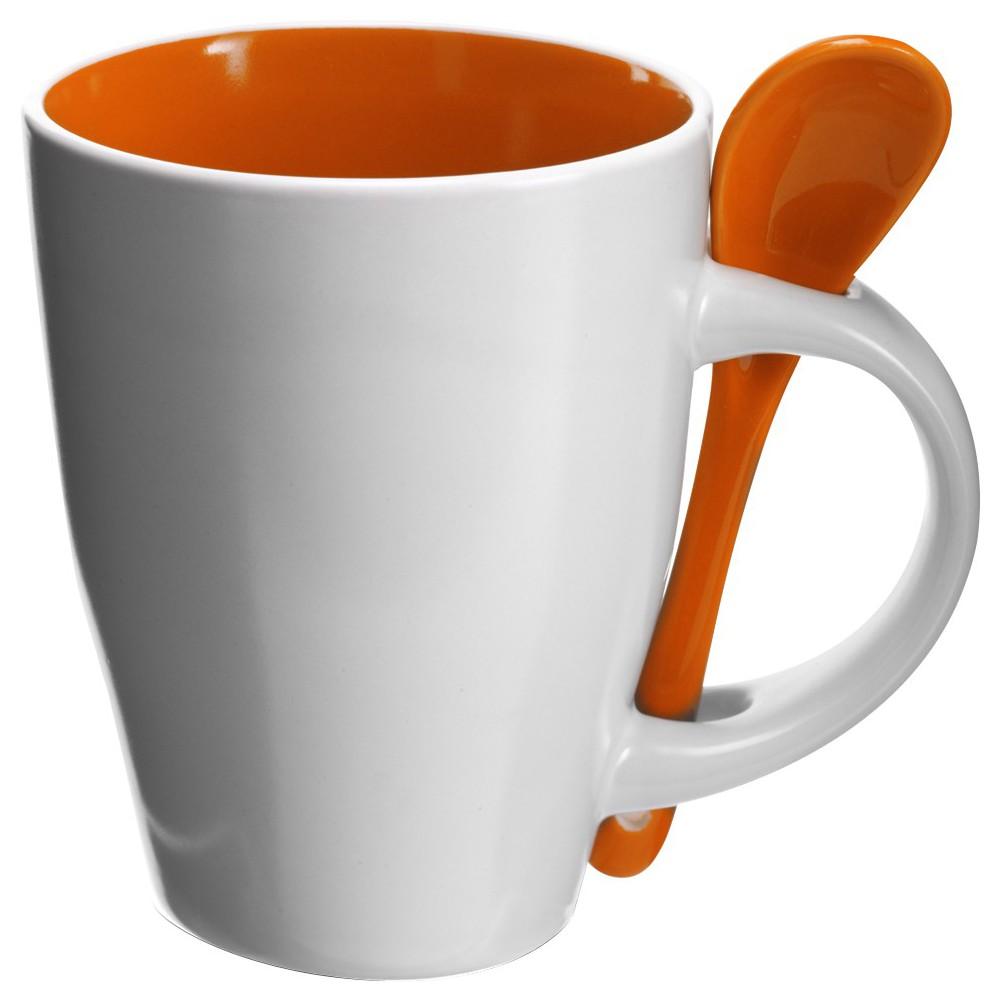Favorite Coffee mug with spoon, orange - Reklámajándék.hu Ltd. KE35