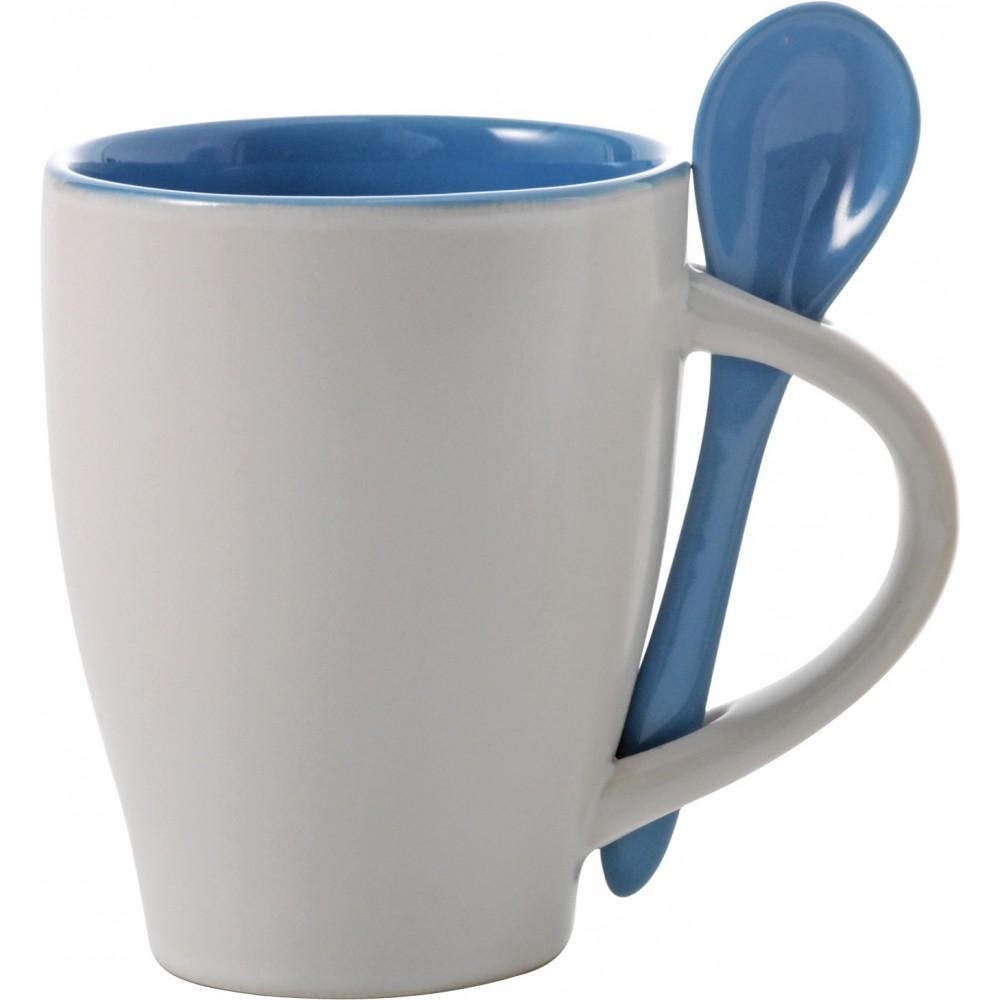 Super Coffee mug with spoon, Pale blue - Reklámajándék.hu Ltd. LZ83