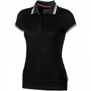 Deuce short sleeve women's polo with tipping, solid black (3310599)