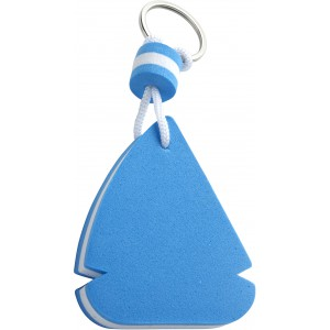 EVA sail ship shaped, floating key chain, blue/white (plastic keychain)