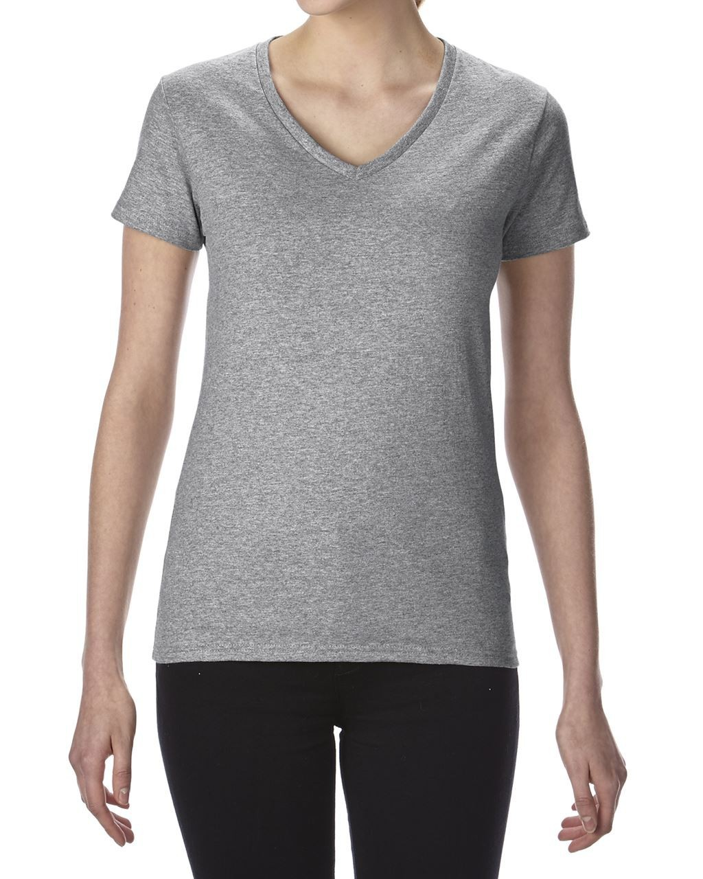 555bb3b924 Gildan Premium Cotton Ladies V-neck T-shirt, RS Sport Grey, (T-shirt ...