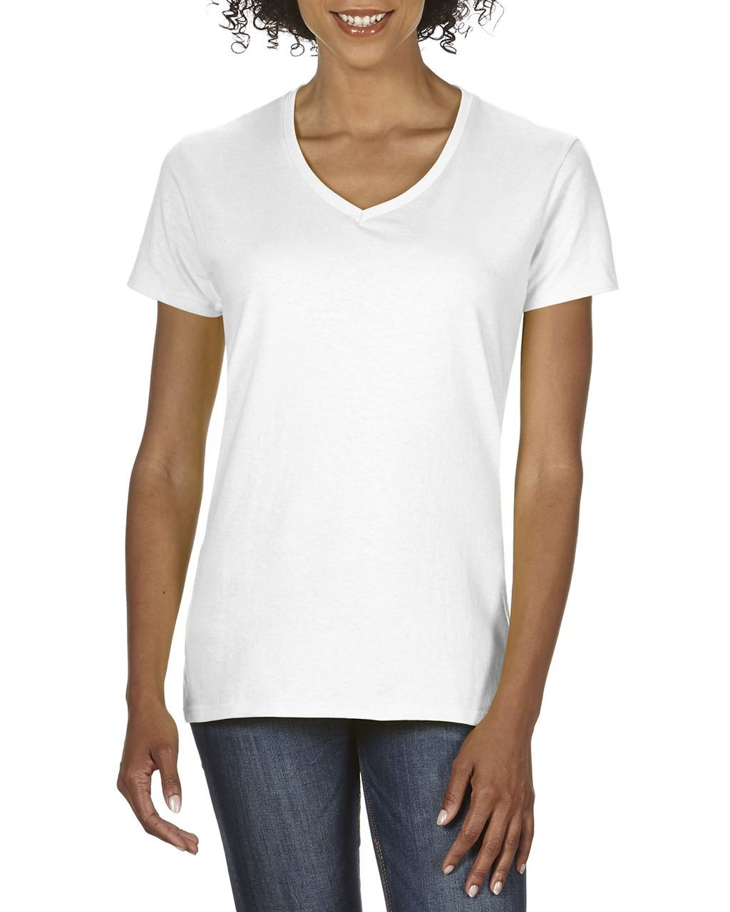 cb989e1e0d Gildan Premium Cotton Ladies V-neck T-shirt, White, 2XL (T-shirt, 90 ...