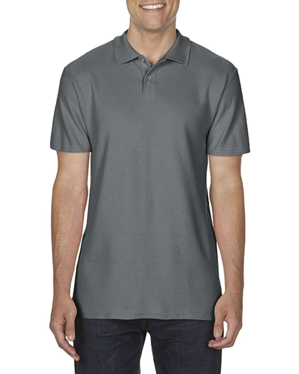 8b496d51 Gildan SoftStyle Adult Double Pique Polo, Charcoal, S (Polo T-shirt ...