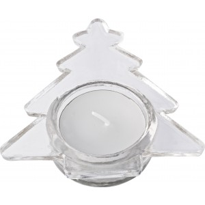 Glass Christmas tree shaped candle holder with white candle, (4896-21)