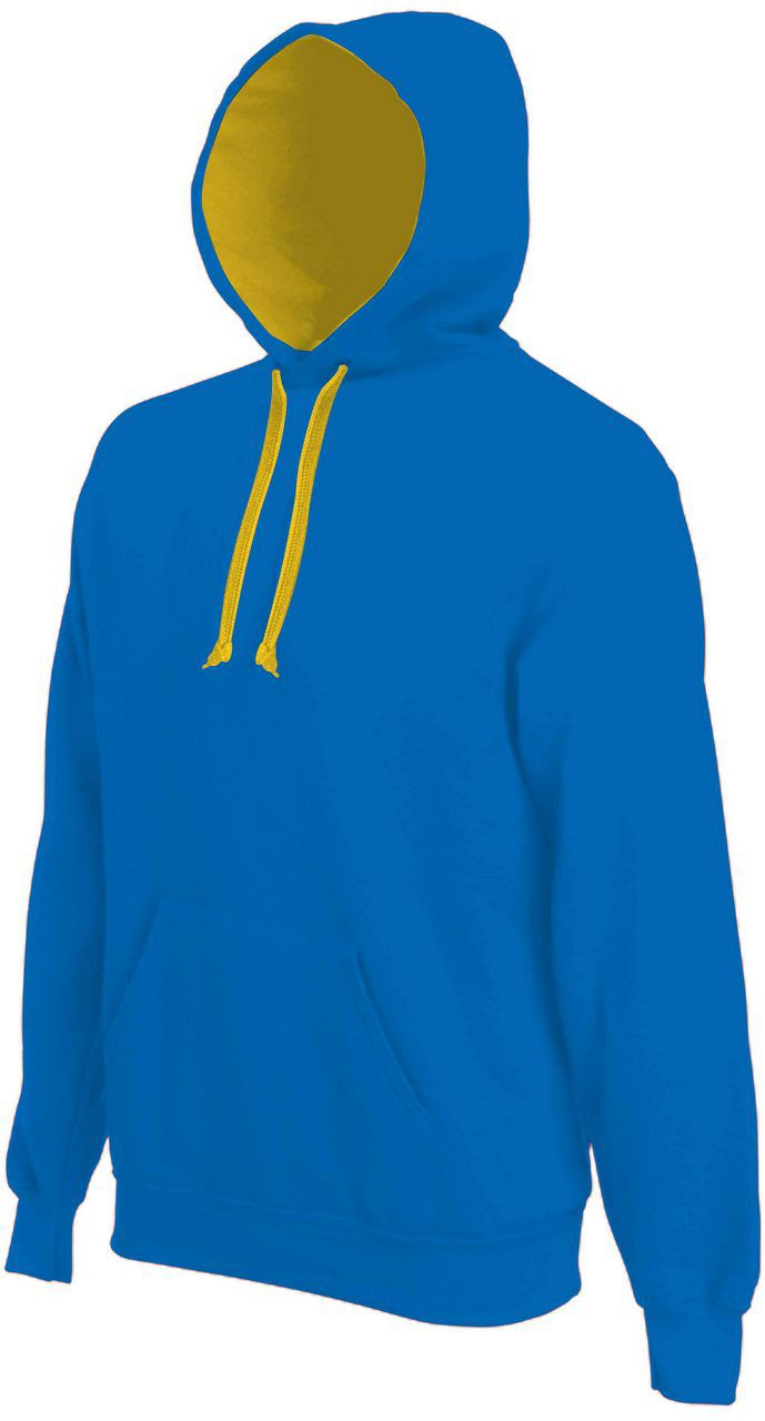 Kariban Contrast Hooded Sweatshirt, Light Royal Blue/Yellow ...