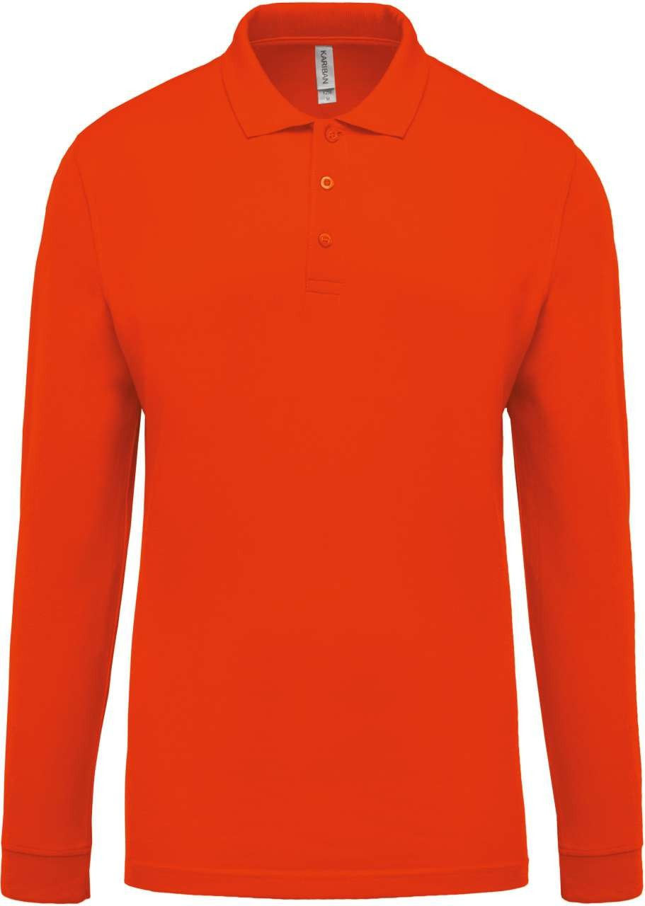 Kariban Men's Long Sleeve Polo Shirt, Orange, M (T-shirt ...