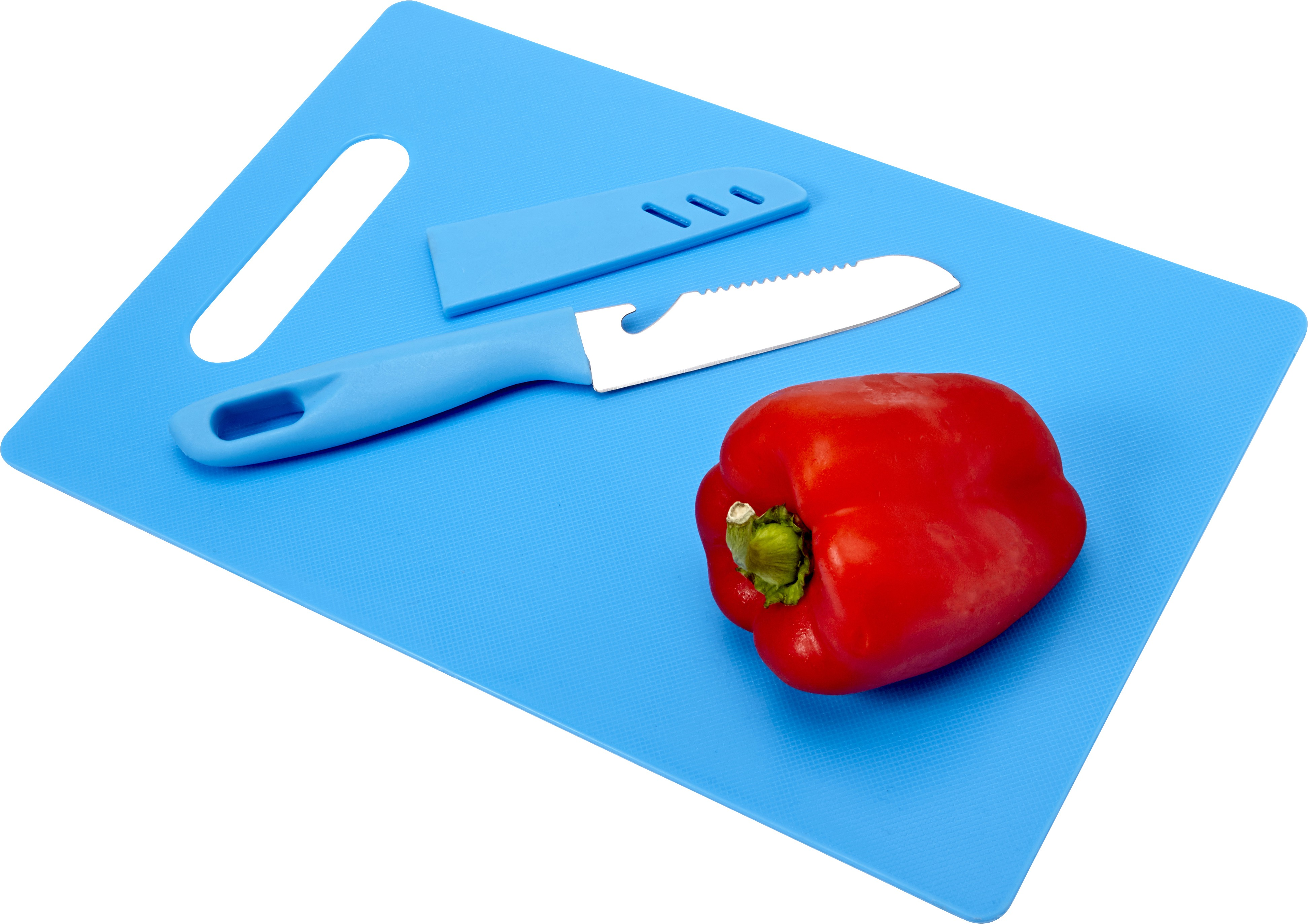 Kitchen set with plastic chopping board and knife, Pale blue ...
