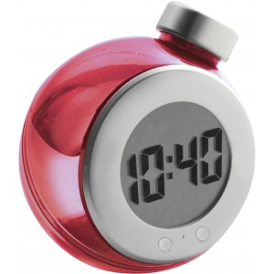LCD water powered desk clock, Red/silver (4549-84)