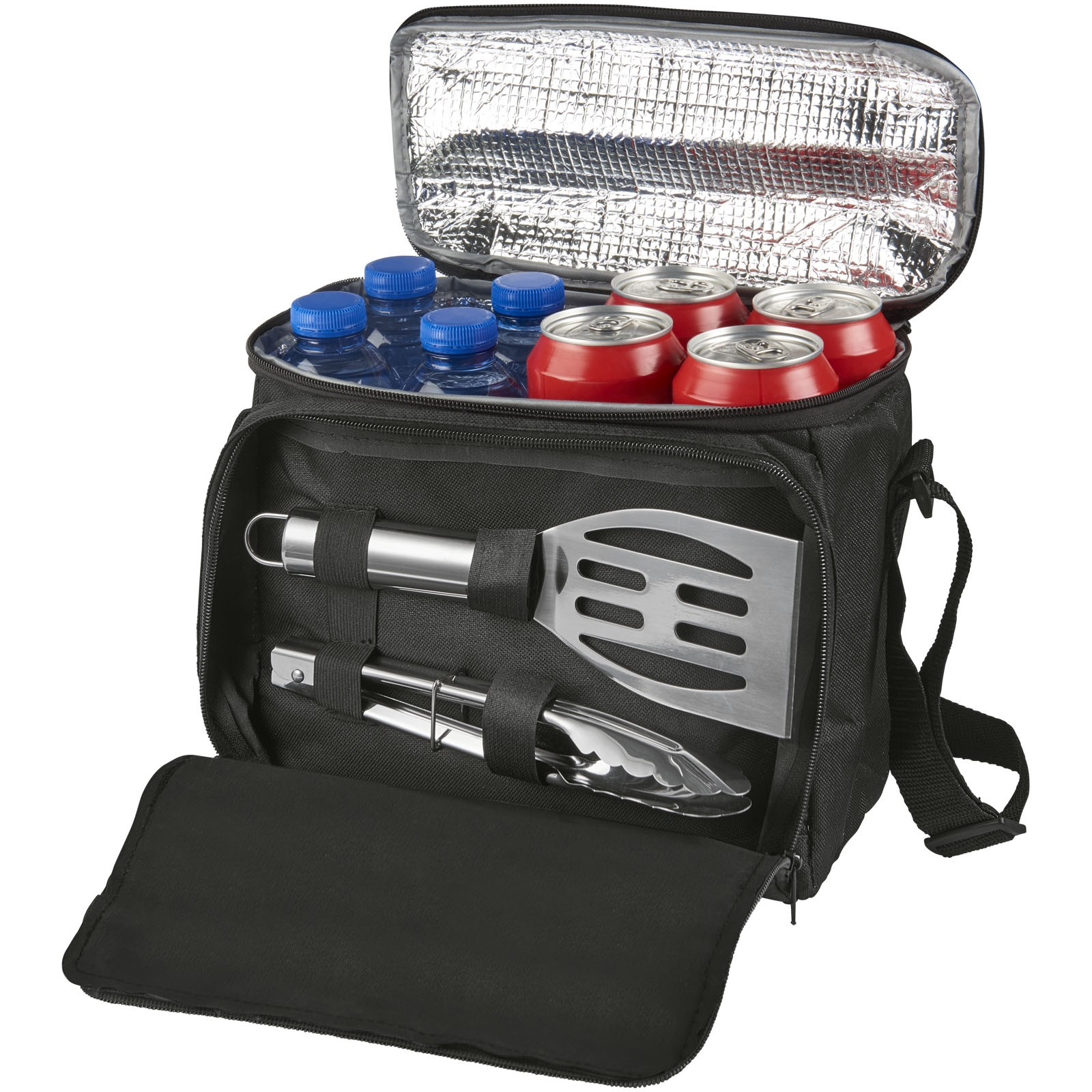 Mill 2 Piece Bbq Set With Cooler Bag Solid Black 25 X 14