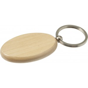 Oval wooden key holder with metal ring, Brown (7300-11CD)