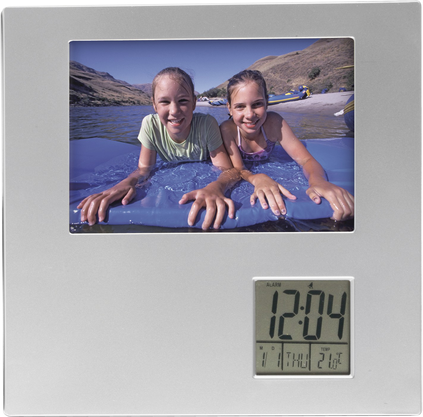 Photo Frame With Digital Clock Silver Desk Clock Reklámajándék