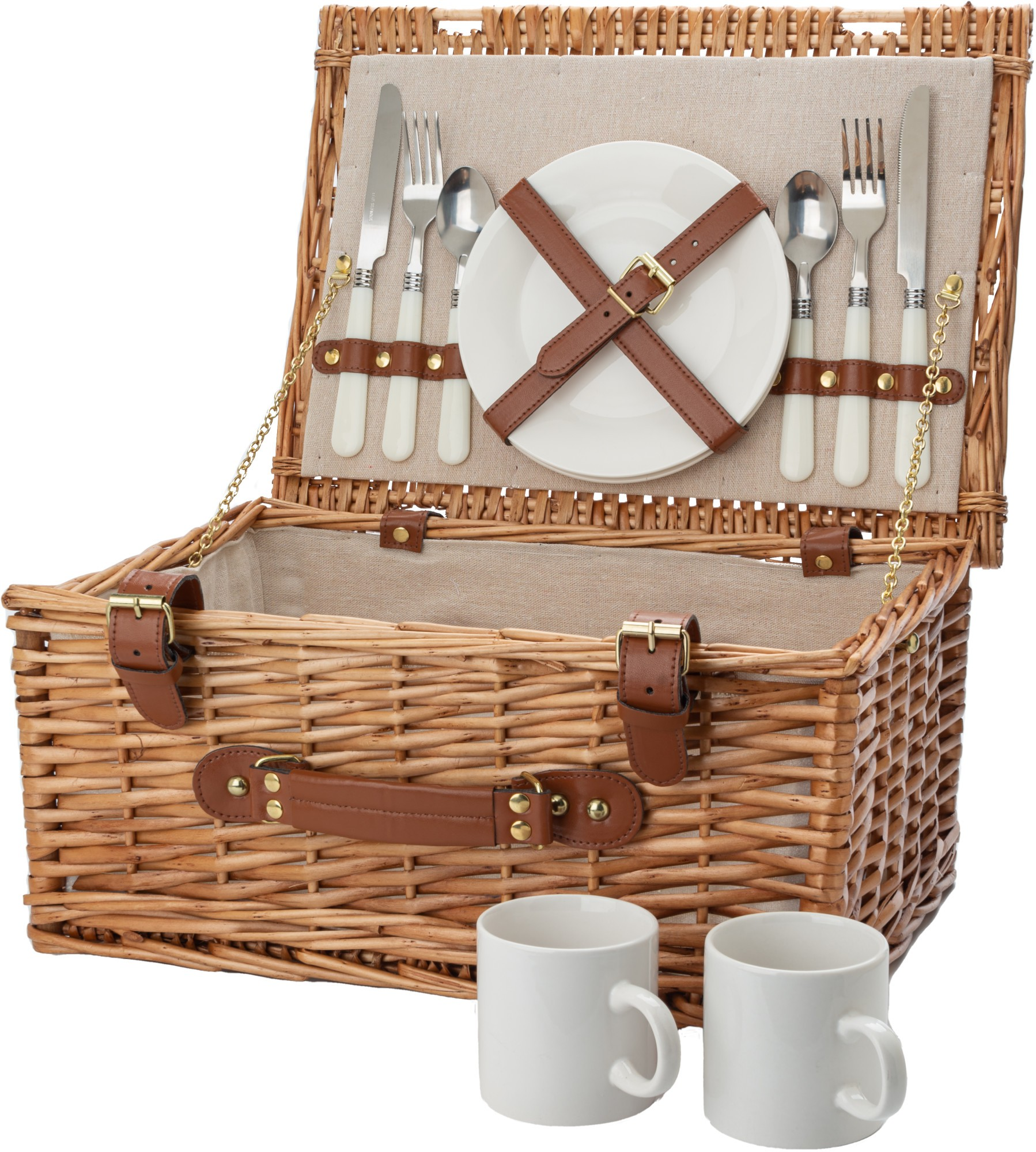 CANTERBURY PICNIC Willow Woven Basket Set for Two Picnic Time 212-86-915