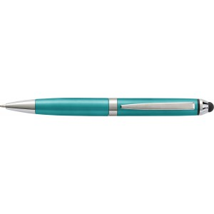 Plastic ballpen with metal tip, turquoise (0968-33)