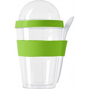 Plastic breakfast mug with separate compartment., Light gree (2146-19CD)