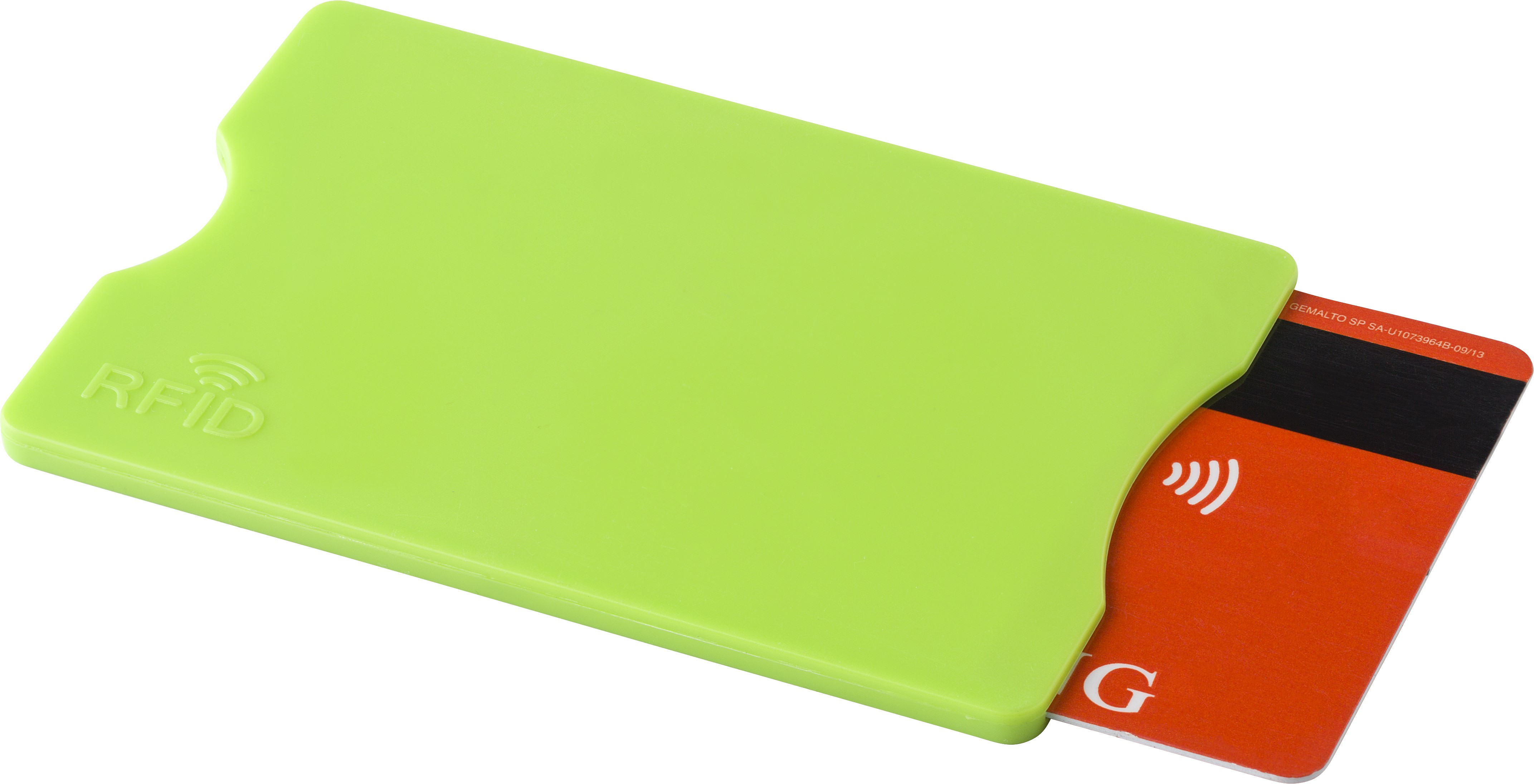 plastic card holder with rfid protection light green imitation leather textile plastic - Plastic Card Holder