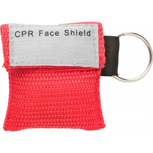 Plastic CPR mask in polyester (600D) bag, red (8840-08)
