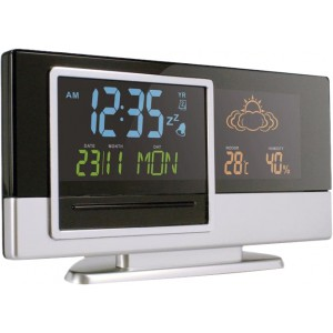Plastic digital weather station, Black/silver (4763-50)