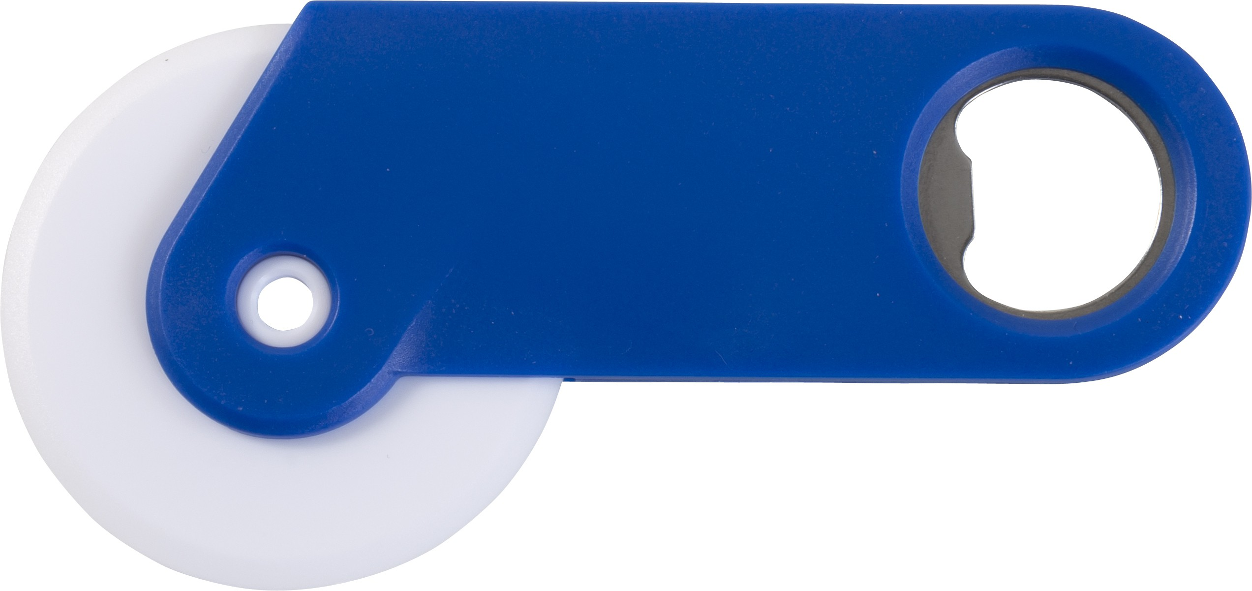 plastic pizza cutter and bottle opener in one cobalt blue kitchen plastic