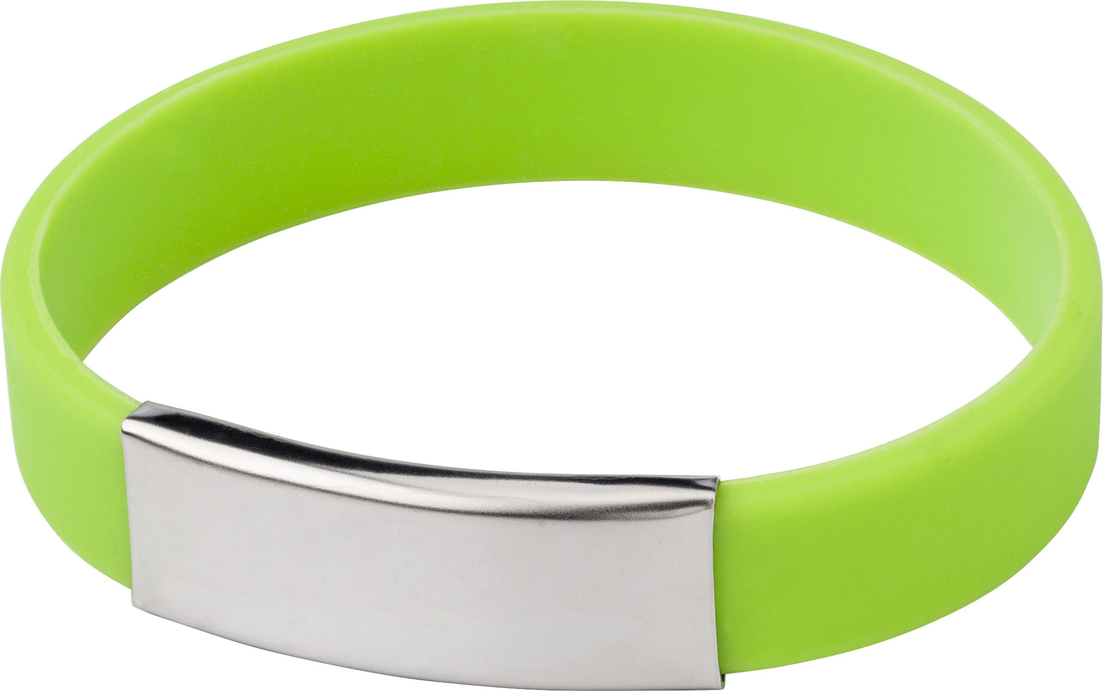 Silicone wristband with metal plate., Pale green (Kitchen plastic ...