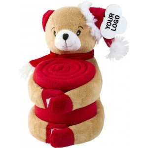 Soft toy animal holding a fleece blanket (2532-09-207)