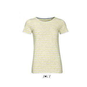 Sols Miles Women Striped T-shirt, Ash/Lemon, XS (SO01399AS/LE)