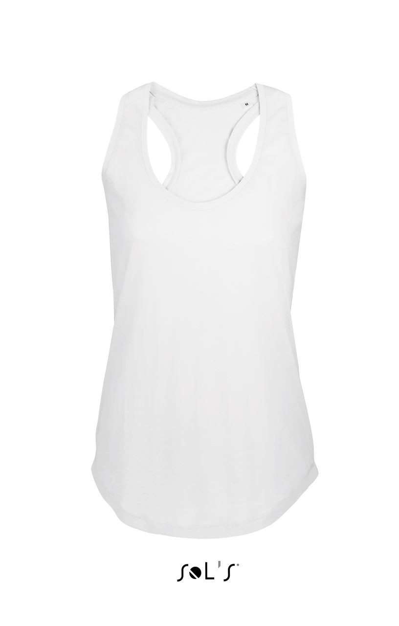 Sols Moka Women Tank Top, White, L (T shirt, 90 100% cotton